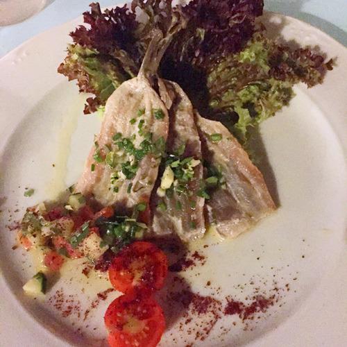 2004年開業のラ・パロマにて。新鮮なイワシと野菜のマリネ、ほんのりとまぶされたワサビとの組み合わせが秀逸
