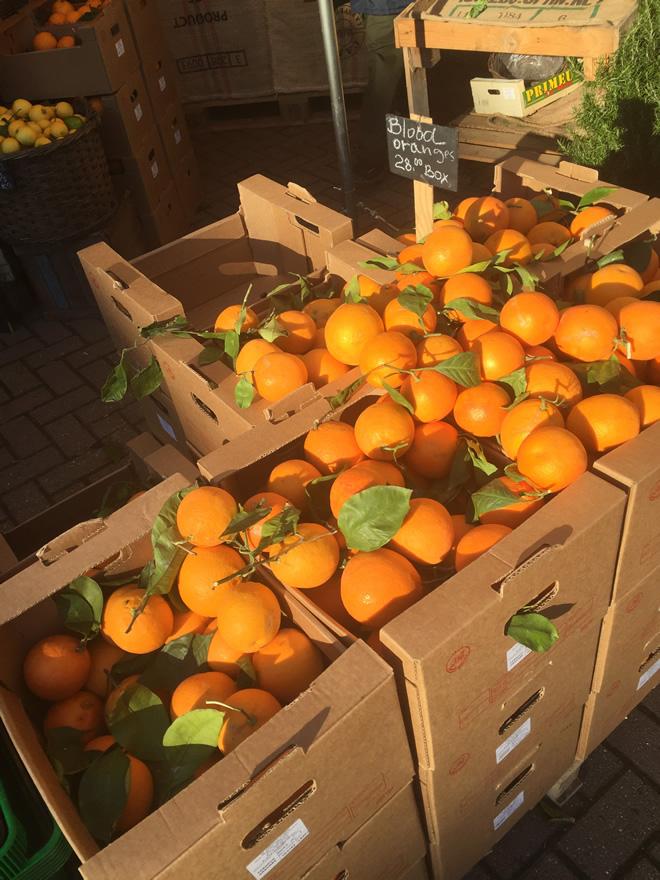 とある家族経営の野菜屋にて先日入荷したイタリア産の赤オレンジ。春が近いことの証